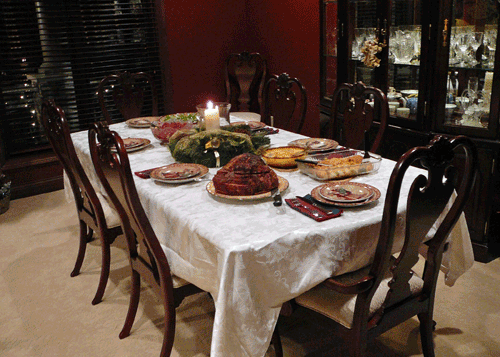 Festive holiday dinner table